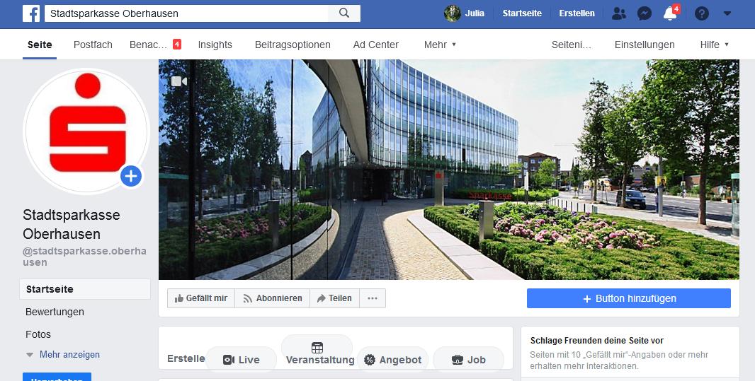 Wir starten bei Facebook – Die Stadtsparkasse Oberhausen betreibt eine eigene Unternehmenspräsenz auf der Social Media Plattform