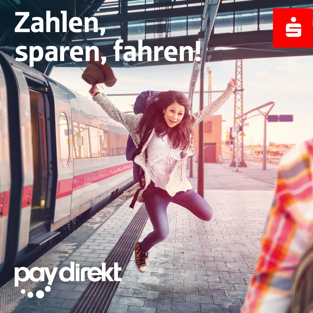 Zahlen, sparen, fahren – Mit paydirekt einen 10-Euro-Bahn-eCopoun sichern!